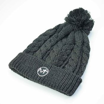 Afbeeldingen van Cable Knit Bobble Hat - Charcoal